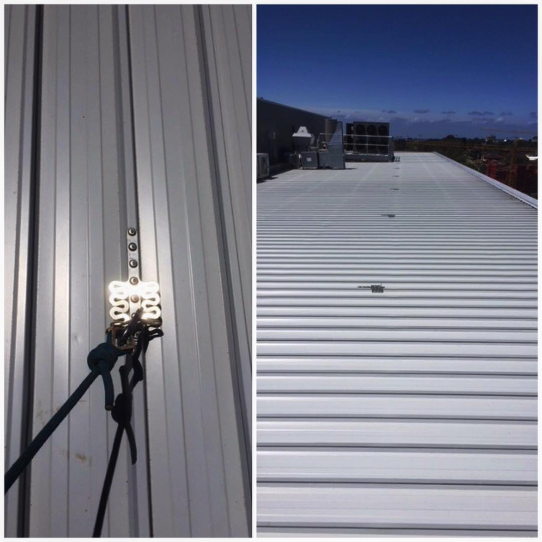 Anchors installed on a metal deck roof in Miranda, Sydney - a simple and effective way to protect life at heights